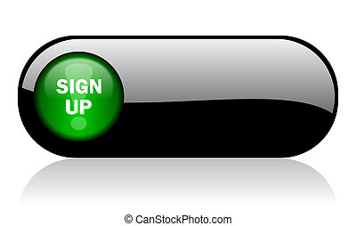 sign up black glossy banner