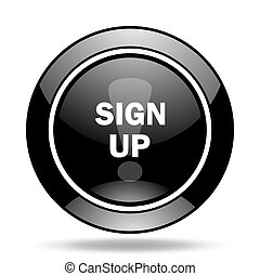 sign up black glossy icon