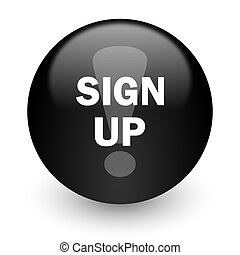 sign up black glossy internet icon