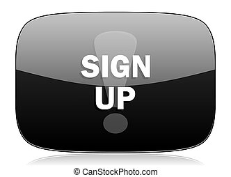 sign up black glossy web modern icon