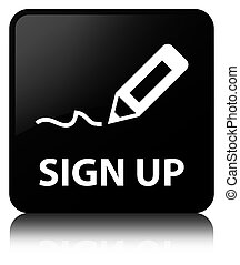 Sign up black square button