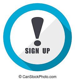 Sign up blue flat design web icon