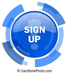 sign up blue glossy circle modern web icon