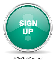 sign up blue glossy circle web icon