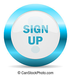 sign up blue glossy icon