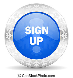 sign up blue icon, christmas button