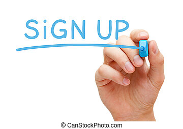 Sign Up Blue Marker - Hand writing Sign Up with blue marker...