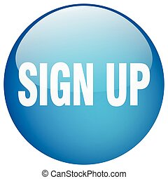 sign up blue round gel isolated push button