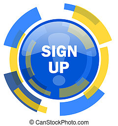 sign up blue yellow glossy web icon