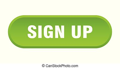 sign up button. sign up rounded green sign. sign up