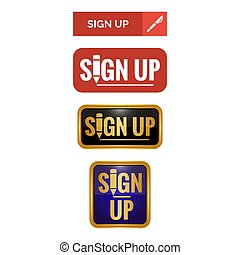 Sign up buttons on white background.
