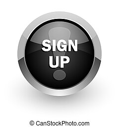 sign up chrome glossy web icon