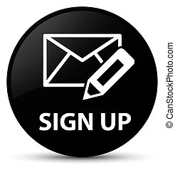 Sign up (edit mail icon) black round button