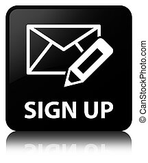 Sign up (edit mail icon) black square button