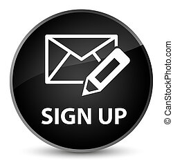 Sign up (edit mail icon) elegant black round button
