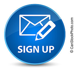 Sign up (edit mail icon) elegant blue round button