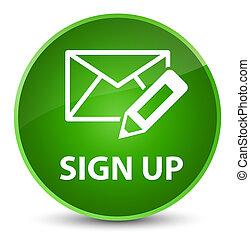 Sign up (edit mail icon) elegant green round button