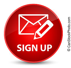 Sign up (edit mail icon) elegant red round button