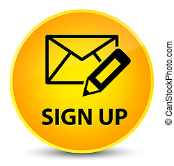 Sign up (edit mail icon) elegant yellow round button