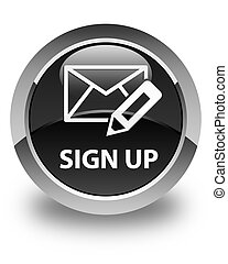 Sign up (edit mail icon) glossy black round button