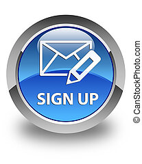 Sign up (edit mail icon) glossy blue round button