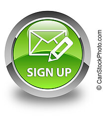 Sign up (edit mail icon) glossy green round button