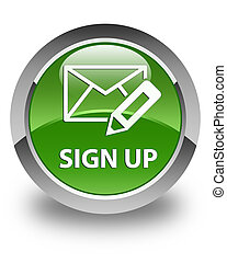 Sign up (edit mail icon) glossy soft green round button
