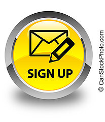Sign up (edit mail icon) glossy yellow round button