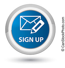 Sign up (edit mail icon) prime blue round button