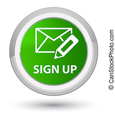 Sign up (edit mail icon) prime green round button