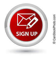 Sign up (edit mail icon) prime red round button
