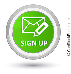 Sign up (edit mail icon) prime soft green round button