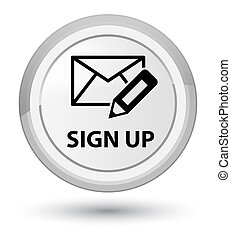 Sign up (edit mail icon) prime white round button
