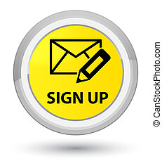 Sign up (edit mail icon) prime yellow round button