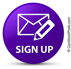 Sign up (edit mail icon) purple round button