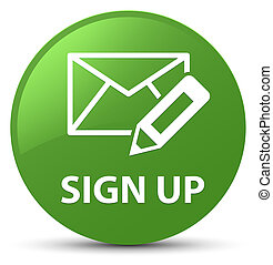 Sign up (edit mail icon) soft green round button