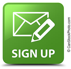 Sign up (edit mail icon) soft green square button