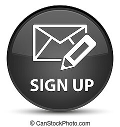 Sign up (edit mail icon) special black round button