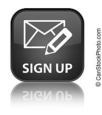 Sign up (edit mail icon) special black square button