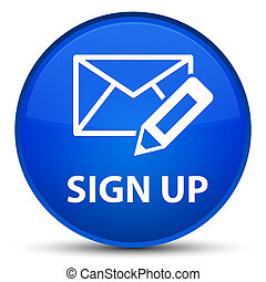 Sign up (edit mail icon) special blue round button