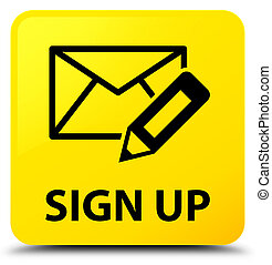Sign up (edit mail icon) yellow square button