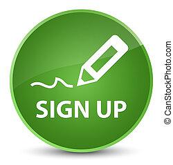 Sign up elegant soft green round button