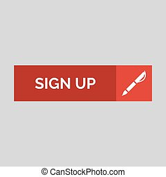 Sign up flat button on grey background.