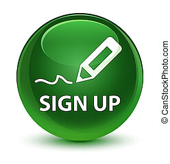 Sign up glassy soft green round button