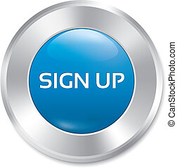 Sign up glossy blue button. Vector round sticker.
