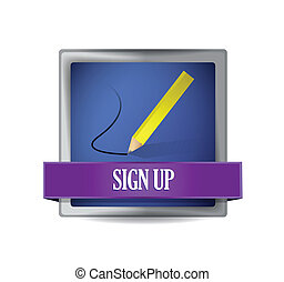 Sign up glossy button illustration