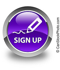 Sign up glossy purple round button
