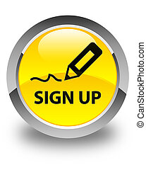 Sign up glossy yellow round button
