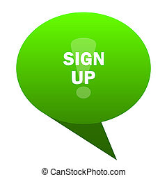 sign up green bubble icon
