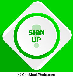 sign up green flat icon